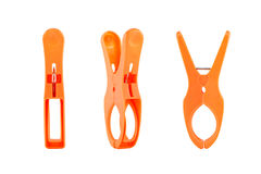 Orange clothespins Royalty Free Stock Images