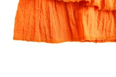 Orange clothing fabric texture. Top view of orange cloth textile surface. Stock Photo