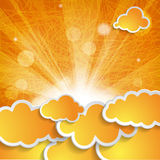 Orange clouds with sun rays on striped background Royalty Free Stock Images