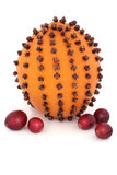 Orange, Cloves and Cranberries Royalty Free Stock Images