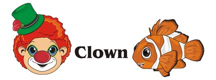 Face of clown with fish. Orange clownfish with her name and face of smiling clown Royalty Free Stock Images