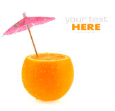 Orange cocktail. Cut orange with umbrella on white background Stock Images
