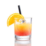 Orange Cocktail Camparis, auf Weiß Stockbilder