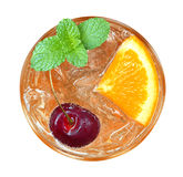 Orange cocktail with cherry and mint top view isolated on white Stock Photos