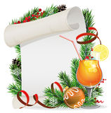 Orange cocktail, Christmas wreath and paper scroll Royalty Free Stock Image