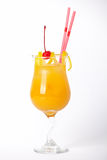 Orange cocktail drink with lemon and cherry Royalty Free Stock Photo