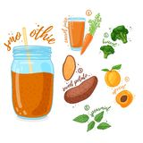 Orange cocktail for healthy life. Smoothies with sweet potato, apricot, broccoli and carrot juice. Recipe vegetarian. Organic smoothie in jar. Template recipe Royalty Free Illustration