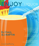 Orange cocktail with slice of pineapple and green leaves on blue. Halftone with grunge close up.Cocktail illustration on bright contemporary flat background vector illustration