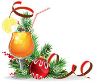 Orange cocktail, spruce branches and baubles Royalty Free Stock Photo