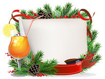 Orange cocktail, spruce branches and paper scroll Royalty Free Stock Images