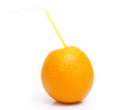 Orange with cocktail straw  Stock Images