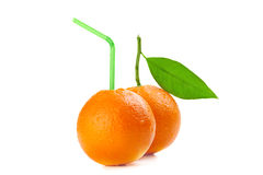 Orange with cocktail straw Royalty Free Stock Image