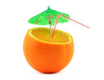 Orange with cocktail umbrella and drinking straw Stock Photography