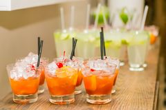 Orange Cocktail Welcome Drink at a corporate gala dinner. Banquet event Royalty Free Stock Photo