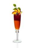 Orange coctail i ett exponeringsglas Arkivbild