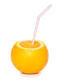 Orange with coctail straw Royalty Free Stock Photography