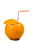 Orange with coctail straw Stock Image