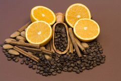 Orange, coffee, cinnamon and almonds Stock Photo