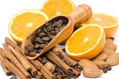 Orange, coffee, cinnamon and almonds Royalty Free Stock Image