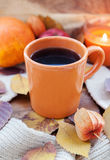 Orange coffee cup on the autumn fall leaves Royalty Free Stock Photo
