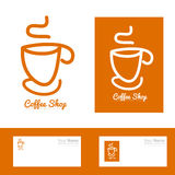 Orange coffee cup hand drawn logo Royalty Free Stock Photography