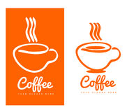 Orange coffee cup logo design Royalty Free Stock Photo