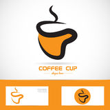 Orange coffee cup logo Royalty Free Stock Photos