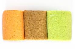 Orange , coffee , green tea favor cake. Orange , coffee , green tea favor jamroll cake Royalty Free Stock Image