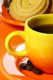 Orange coffee service. Royalty Free Stock Photos
