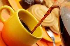 Orange coffee service. Stock Photography