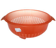Orange colander with price tag Royalty Free Stock Photography