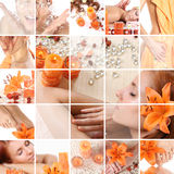 Orange collage. Healthy spa collage with healthy life Royalty Free Stock Images