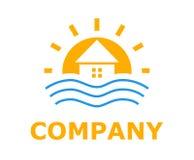 Beach resort logo 3. Orange colo logo design idea illustration for resort hotel business company on beach or bay shape like sunset Royalty Free Stock Photography