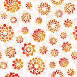Orange color abstract seamless circles design pattern unusual. Vector isolated repeatable round shapes background. Universe futuristic metaball dots wallpaper Royalty Free Stock Images