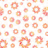 Orange color abstract seamless circles design pattern unusual. Vector  repeatable round shapes background. Universe futuristic metaball dots wallpaper Royalty Free Stock Photos