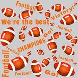 Orange color American football balls and texts stock photos