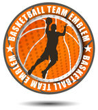 Orange color basketball team emblem Stock Photo