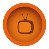 orange color circular frame with silhouette antique tv royalty free illustration