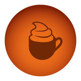 Orange color circular frame with silhouette cup of cappuccino with cream. Illustration Stock Photos