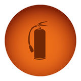 Orange color circular frame with silhouette fire extinguisher icon Royalty Free Stock Image