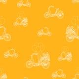 Orange color hand-drawn bikes pattern. vector background Stock Photos