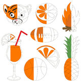 Orange Color Images, the big kid game to be colored by example half. Orange Color Images, the big collection coloring book to educate preschool kids with easy royalty free illustration