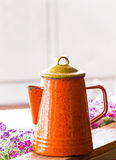Orange color kettle Royalty Free Stock Image