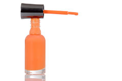 Orange color nail polish Royalty Free Stock Photography