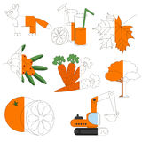 Orange Color Objects, the big kid game to be colored by example half. Orange Color Objects, the big collection coloring book to educate preschool kids with easy stock illustration