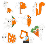 Orange Color Pictures, the big kid game to be colored by example half. Orange Color Pictures, the big collection coloring book to educate preschool kids with royalty free illustration