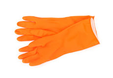 Orange color rubber gloves for cleaning on white background, ho