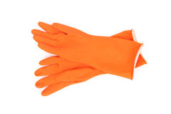 Orange color rubber gloves  for cleaning on white background, wo. Rkhouse concept Stock Image