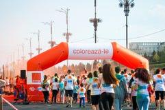 Orange color run Stock Photo