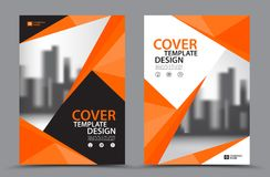 Orange Color Scheme with City Background Business Book Cover Design Template in A4. Brochure flyer layout. Annual Report. Magazine. Poster. Presentation Royalty Free Stock Images